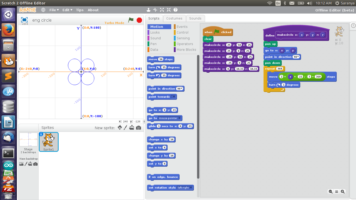 My First Experience With Scratch Aura Auro Design Logic Diagram Shapes We Can Draw Different By Using Scratchit Is Increasing Interest Level Towards Mathematics The Below Picture Shows Circle